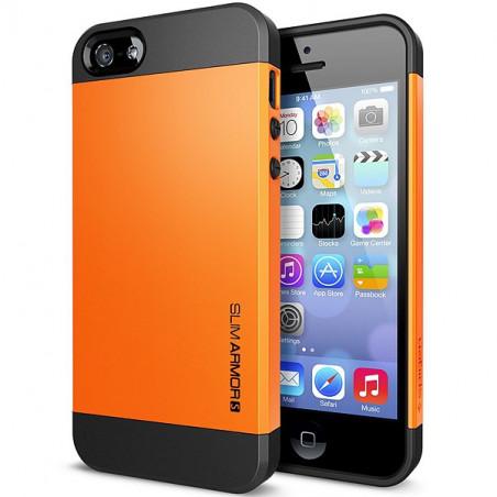 Iphone 5, pouzdro na mobil Spigen slim Armor, oranžové, 1ks