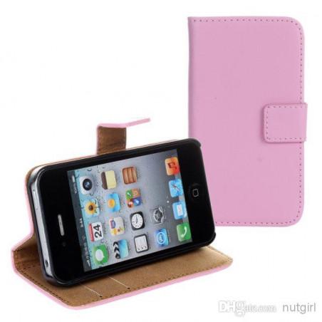 Iphone 4, pouzdro na mobil kožené Butiko, růžové, 1ks