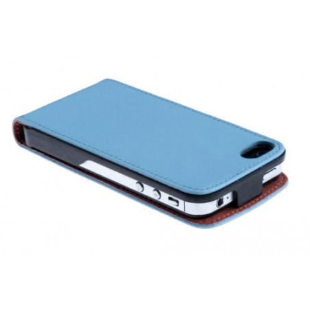 Iphone 4, pouzdro na mobil kožené vertikální Butiko, modré, 1ks