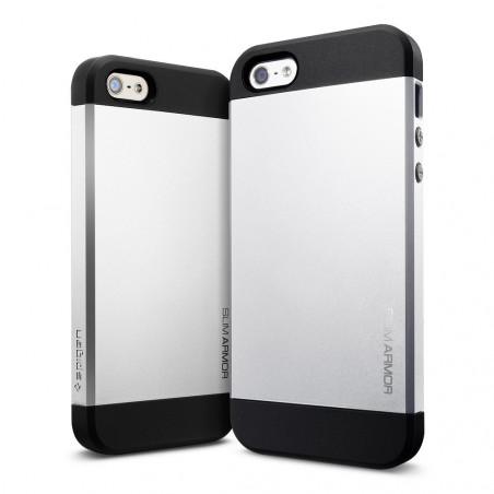 Iphone 5, pouzdro na mobil Spigen slim Armor, stříbrné, 1ks
