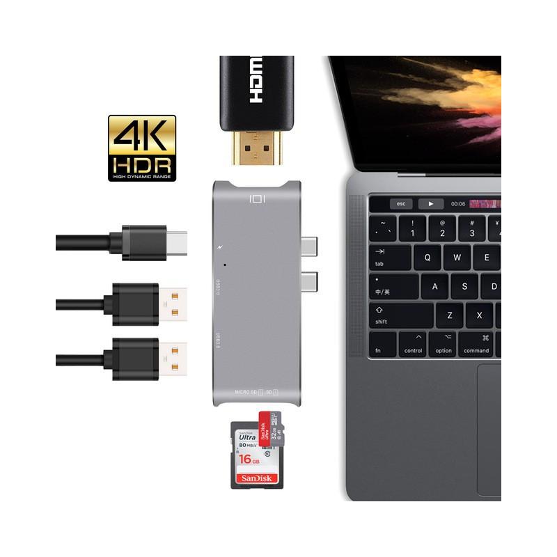 USB-C HUB pro Mac Apple 5v1 USB-SD-Micro SD-HDMI-USB-C